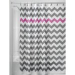 InterDesign Shower Curtain, 72 by 72-Inch, Gray-Orchid, Chevron