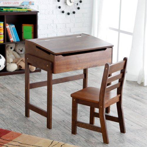 Lipper International Child's Slanted Top Desk and Chair, Walnut