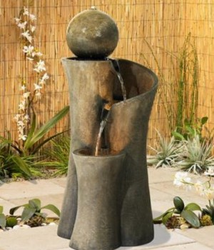Modern Sphere Curve Cascading 39.5 inch High Fountain