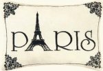Paris - Small Cute Embroidered ACCENT Pillow (5 1-2 inch x 8 1-2 inch)