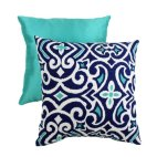 Pillow Perfect Decorative Damask Square Toss Pillow, Blue White