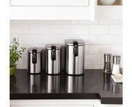 simplehuman slim canister set fingerprint-proof brushed stainless steel