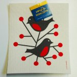 Swedish Dishcloth - Birds Red - Domherre