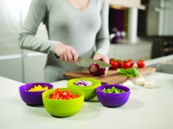 Joseph Joseph Prep and Store Compact Food Preparation Bowls, Green and Aubergine, Set of 4