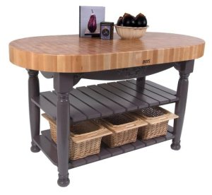 American Heritage Harvest Butcher Block Kitchen Island Finish Eggplant Purple