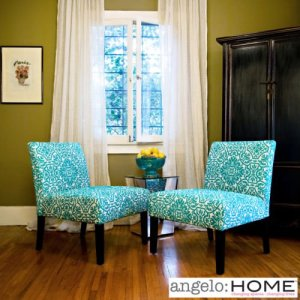 Angelo Home Bradstreet Damask Turquoise Blue Armless Chairs (Set of 2)