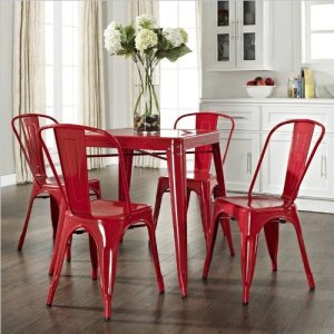 Crosley Furniture Amelia Five Piece Metal Cafe Dining Set in Red