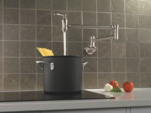 Delta 1177LF-SS Pot Filler Faucet - Wall Mount, Stainless
