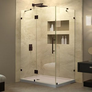 DreamLine SHEN-1332460-06 QuatraLux Hinged Shower Enclosure, 46-5-16-Inch x 32-1-4-Inch x 72-Inch, Oil Rubbed Bronze Finish
