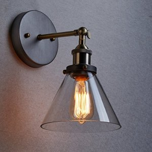 Ecopower Industrial Edison Antique Glass 1-Light Wall Sconces Simplicity