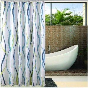 Eforgift 72 X 72 Inch Printed Waterproof Sea Elements Striped Bath Curtains Polyester Fabric Bathroom Shower Curtain Mildew Proof with Free Hooks (AD-F1)
