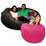 Micro Suede Bean Bag Ottoman pink