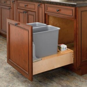 Rev-A-Shelf Rev-A-Shelf Double Rev-A-Motion Pull Out 30 qt. Trash Can, Gray, Plastic