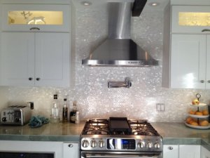 Sample Size 4 x 4 Genuine Mother of Pearl Shell Tile White 5-8 x 1 Minibricks for Backsplash and Bathroom Walls and Floors