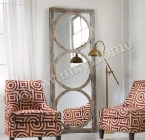 Tall Mirrored Circles Wall Mirror Leaner Contemporary Oversize