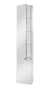 Croydex WC796005YW Nile Tall Mirrored Cabinet, Stainless