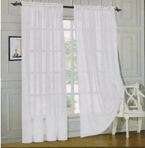 Elegant Comfort® 2-Piece SHEER PANEL with 2inch ROD POCKET - Window Curtains 60-inch width X 84-inch Length - White