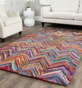 Safavieh NAN142A Nantucket Collection Handmade Cotton Area Rug, 6-Feet by 9-Feet, Pink
