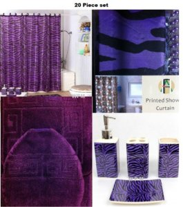 20 Piece Bath Accessory Set Purple Bath Rug Set + Purple Zebra Shower Curtain & Accessories