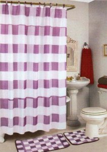 4pcs Bath Rug Set Lilac Checker Bathroom Rug Shower Curtain Mat & Rings