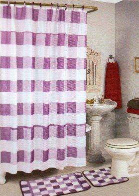 4pcs bath rug set lilac checker bathroom rug shower curtain mat u0026 rings