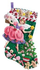 2014 christmas craft kits debbies home shop bucilla 18 inch christmas stocking felt applique kit sugar plum fairy solutioingenieria Images