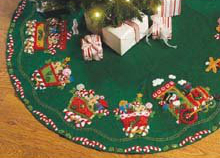 Bucilla Candy Express Tree Skirt Felt Applique Kit-43inch Round