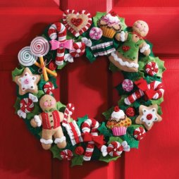 Bucilla Cookies & Candy Wreath Felt Applique Kit-15inch Round