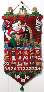 Bucilla Must Be Santa Advent Calendar Felt Applique Kit-13x25 inch