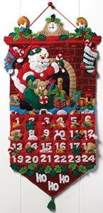 Bucilla Must Be Santa Advent Calendar Felt Applique Kit-13x25 inch