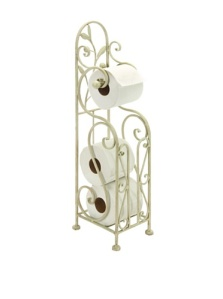 Deco 79 Metal Toilet Paper Holder, 24 by 8-Inch, White
