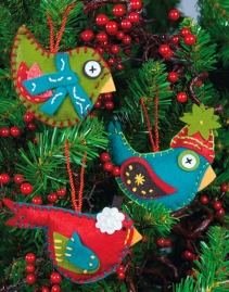 Dimensions Needlecrafts Felt Applique, Whimsical Birds Ornaments