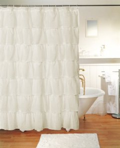 Gypsy Ruffled Shower Curtain Cream 70 ich width x 72 inch length