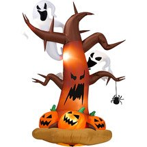Halloween Inflatables 8 footTall Inflatable Dead Tree w Ghost on Top Pumpkins on Bottom