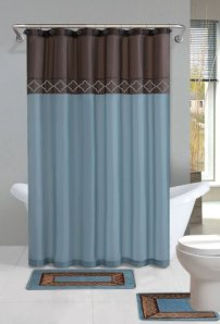 Home Dynamix DB15D-530 Designer Bath Polyester 15-Piece Bathroom Set, Brown Blue