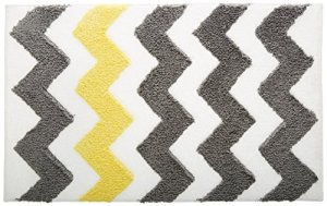 InterDesign Microfiber Bath Rug, 34-Inch by 21-Inch, Gray Yellow