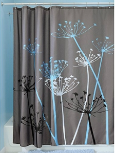 InterDesign Thistle Shower Curtain, 72 x 72, Gray Blue