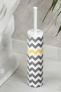 InterDesign Una Slim Bowl Brush, Gray Yellow Chevron