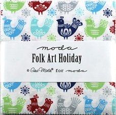 Moda Folk Art Holiday Charm Pack, Set of 42 5-inch (12.7cm) Precut Cotton Fabric Squares.1