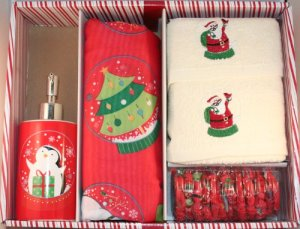 Santa's Globe Shower Curtain Set with hooks, lotion pump and 2 hand towels