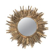 Creative Co-Op Round Driftwood Sun Burst Mirror