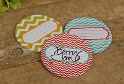 Decorative Chevron Mason Jar Lids - Set of 9