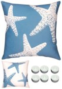 Manual Woodworkers SLNSFS Blue Starfish 18in x 18in Climaweave Outdoor Indoor Pillow with 6-Pack of Tea Candles