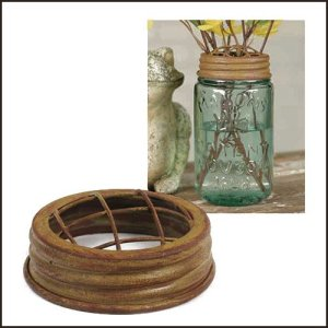 Mason Jar Flower Frog Lid Mustard Finish