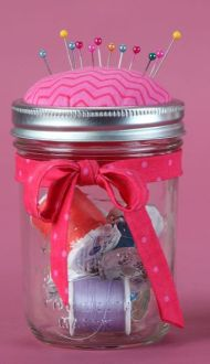 Mason jar pin cushion button holder