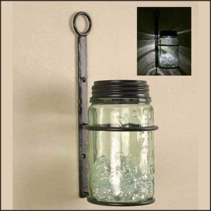 Mason jar wall bracket
