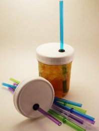 Set of 4 Ball Mason Jar Lids with Straws to Go Wide Mouth