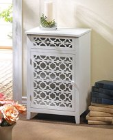 White Cut work Floral Design Meadow Lane Decorative Storage Cabinet