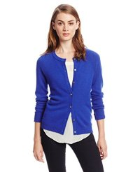 bela.nyc Women's 100% Cashmere Raglan Crew-Neck Cardigan Sweater