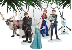 Disney Frozen Christmas Tree Ornament Set Featuring Anna, Elsa, Hans, Kristoff, Sven the Reindeer, Olaf the Snowman - Shatterproof Plastic Ornaments Ranging from 3 to 4 inches Tall